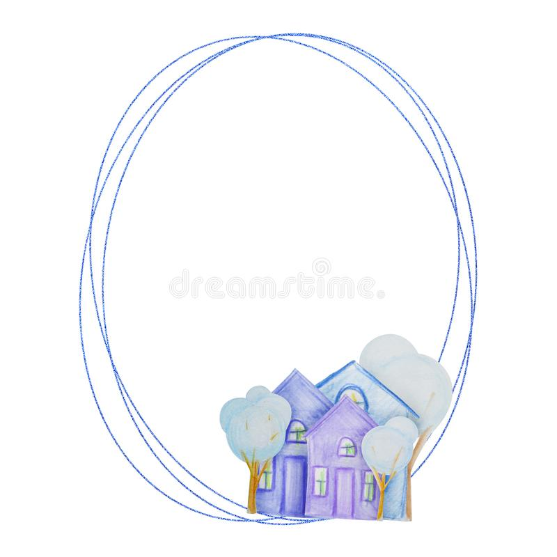Winter geometric frame of houses drawn with colored watercolor pencils. For the design of children and cute. New Year, Christmas and Holidays stock illustration