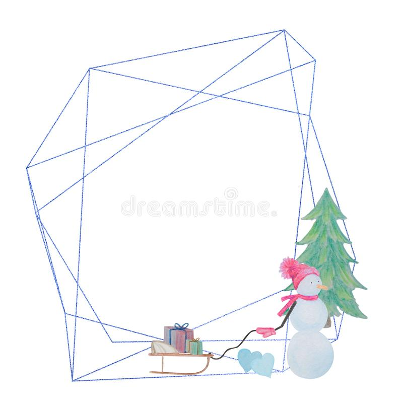 Winter geometric frame of snowman drawn with colored watercolor pencils. For the design of children and cute. New Year, Christmas and Holidays royalty free illustration