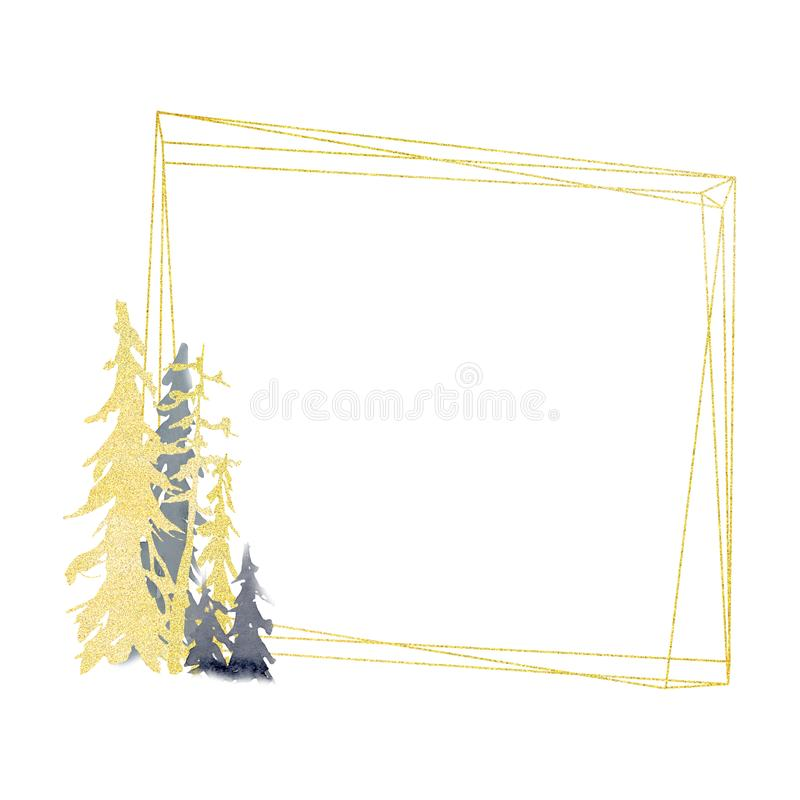 Winter geometric gold frame with trees in forest vector illustration