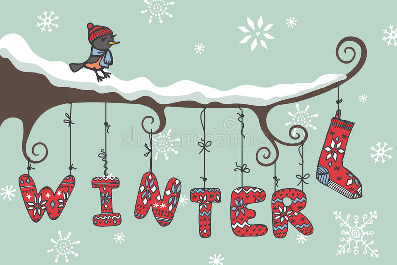 Winter gestrickte Buchstaben, birdl, Niederlassung stock abbildung