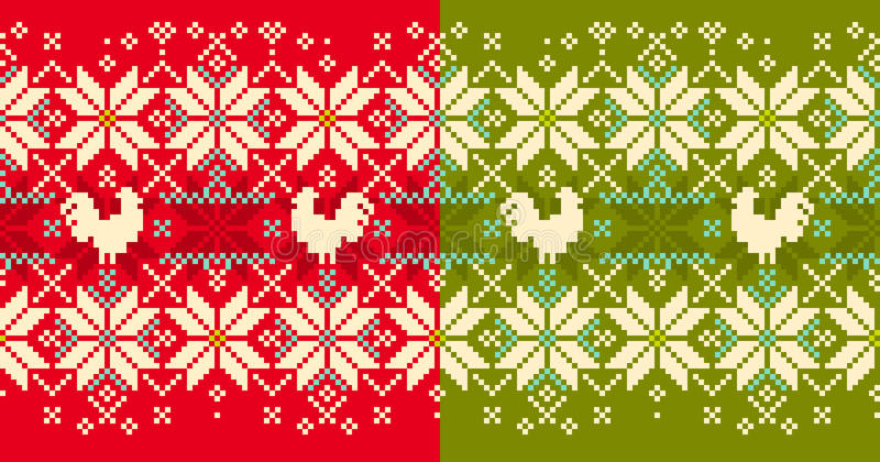 Winter gestricktes nahtloses Muster des jungen Hahns vektor abbildung