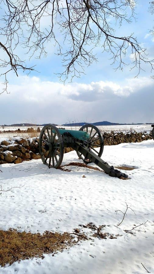 Winter an Gettysburg-Schlachtfeld stockbild
