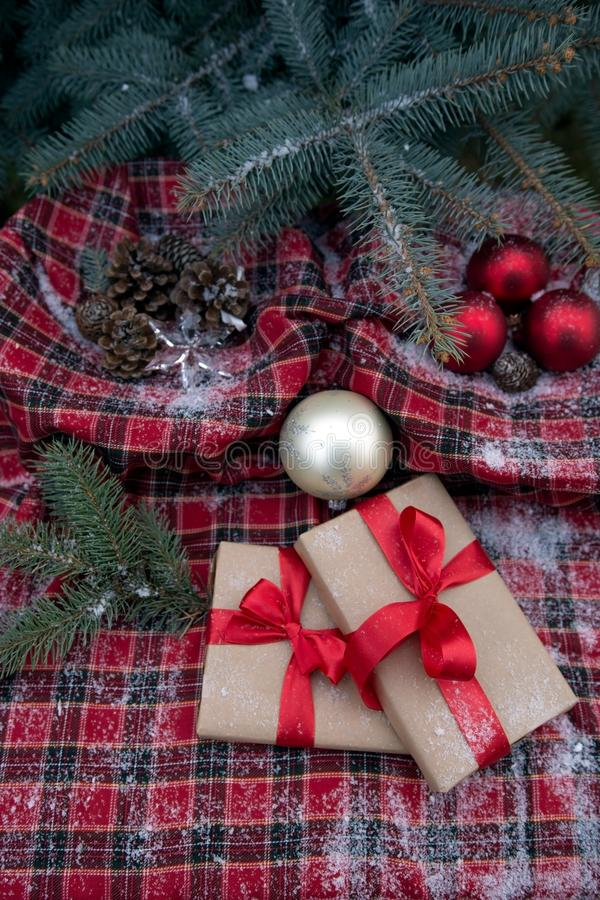 Gifts and decorations under the Christmas tree royalty free stock photography