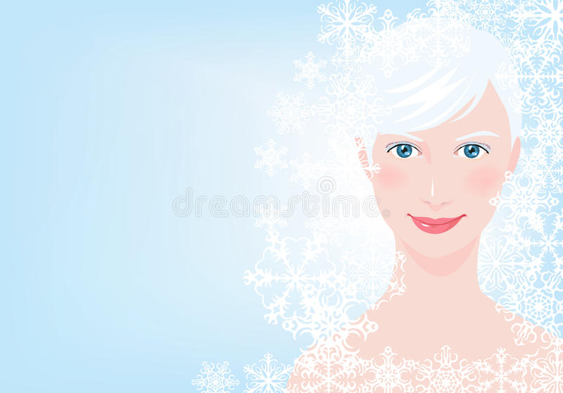 Winter girl. Vector illustration with good-looking blonde royalty free illustration