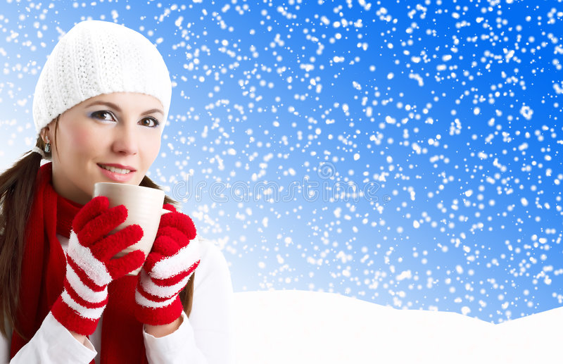 Download Winter Girl stock photo. Image of holiday, coffee, makeup - 7018922