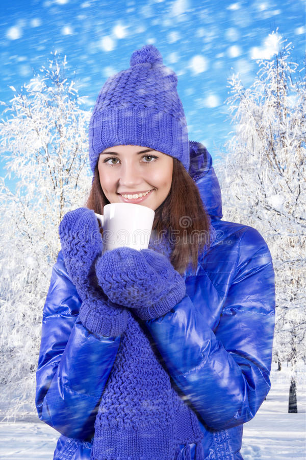 Download Winter Girl Drinking Warm Beverage. Stock Image - Image: 28806843
