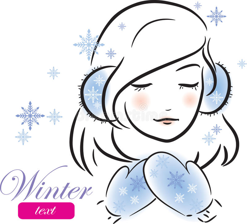 Winter girl with mittens and earmuffs royalty free illustration
