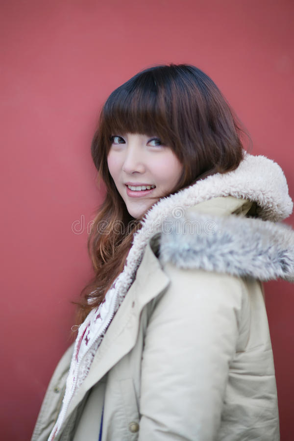 Winter girl in the park stock photography