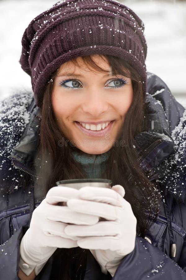Download Winter girl portrait stock image. Image of drink, jacket - 16827113