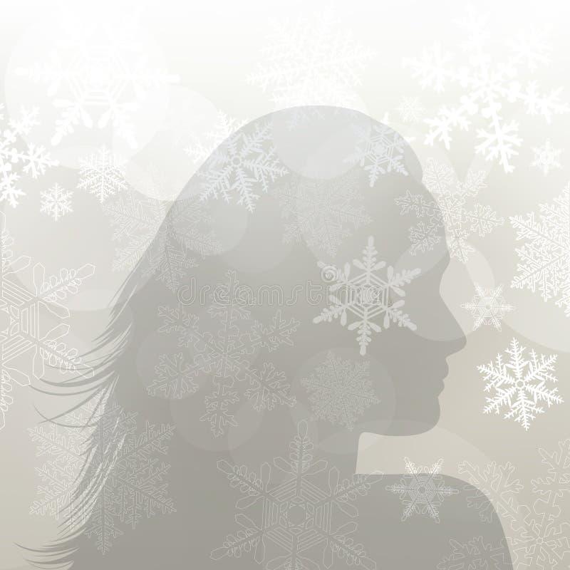 Winter girl silouette stock illustration