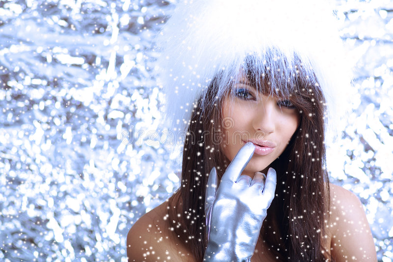 Winter girl on silver background