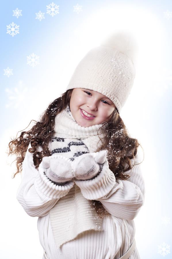 Download Winter Girl Snow Flake Blue Background Stock Image - Image: 22346185
