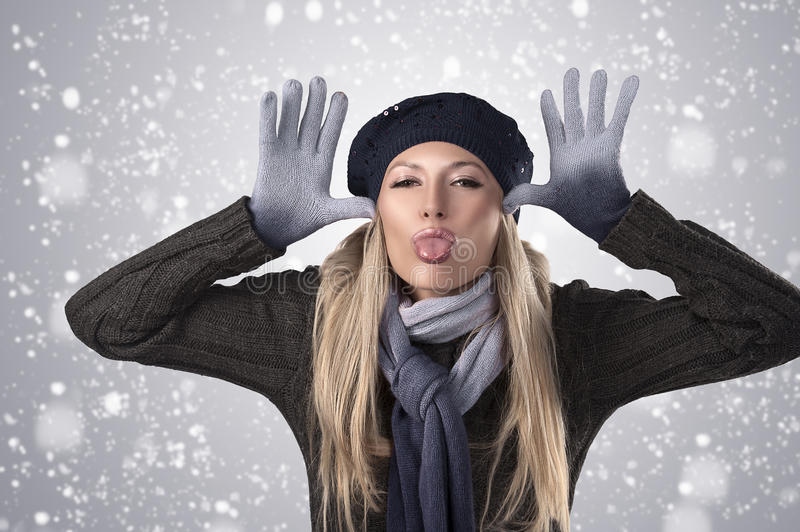 Download Winter Girl In Wool Cap And Gloves Stock Photo - Image: 22062706