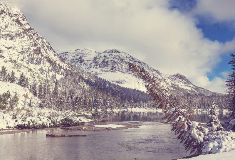 Winter in Glacier Park stock photo