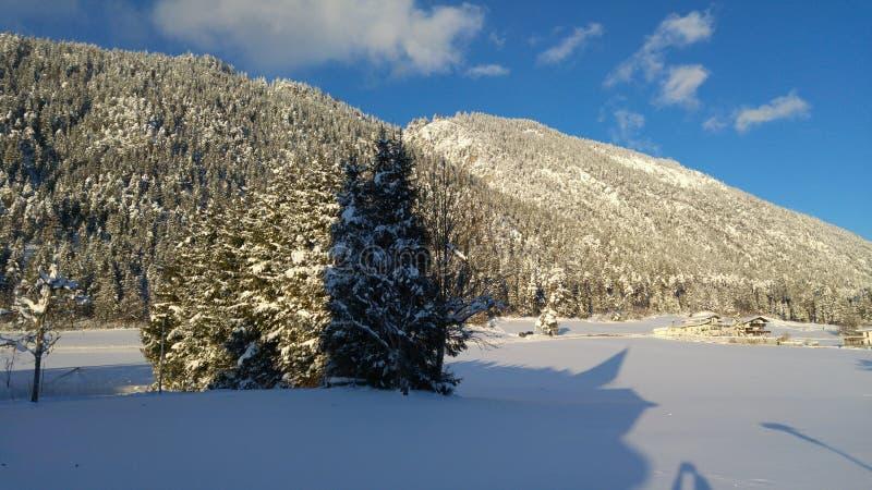 Winter in Gnadenwald, Tyrol, Austria stock photos