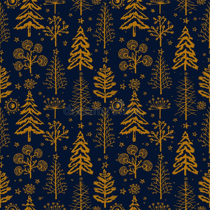 Winter gold seamless Christmas pattern for design packaging paper, postcard, textiles royalty free illustration