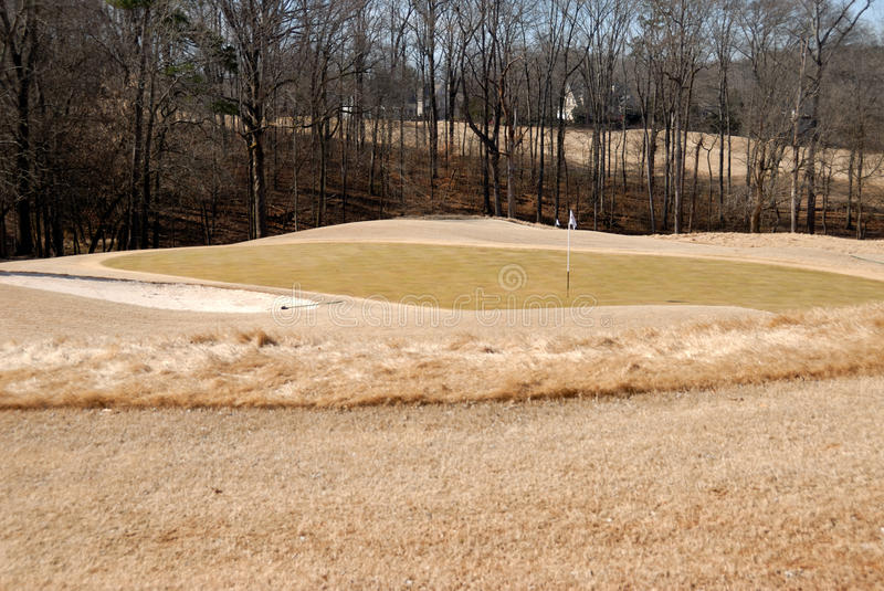 Winter golf course. A deserted golf course in winter royalty free stock photos