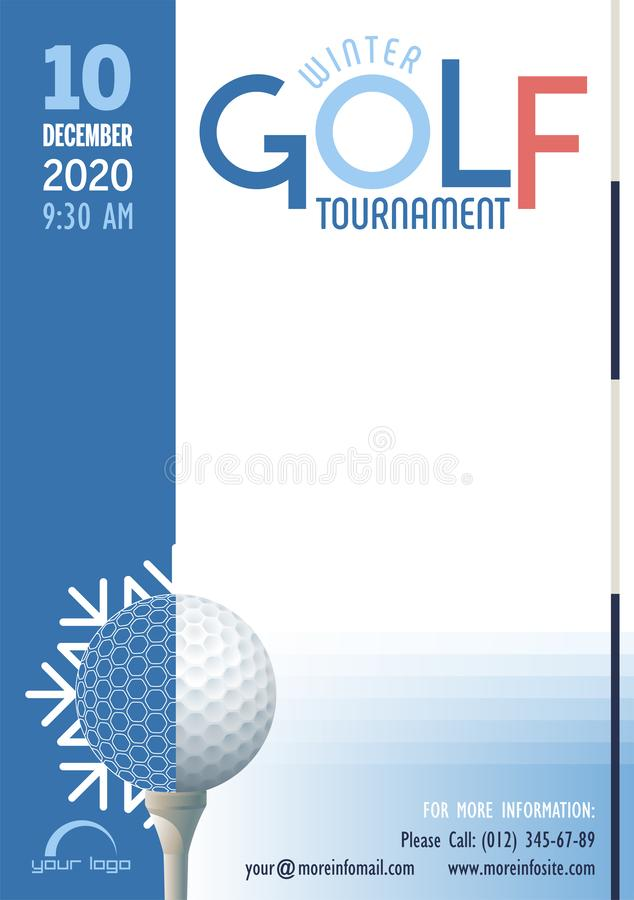 Winter Golf Tournament poster template. Vector illustration. royalty free illustration