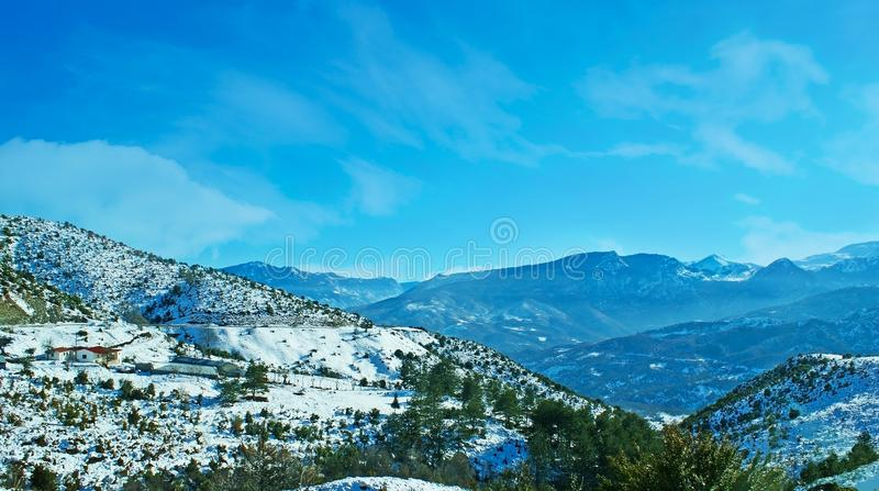 Winter in Greek mountains royalty free stock image