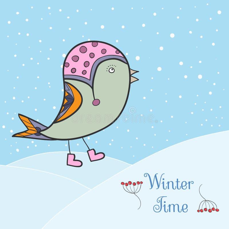 Winter green bird. royalty free stock image