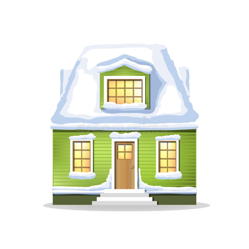 Winter green house. Country cozy house, covered in snow. On a white background royalty free illustration