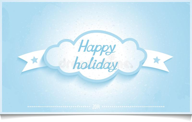 Winter greeting card happy holidays with Cloud stock illustration