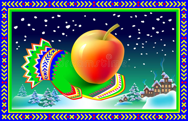 Winter greeting card with mitten and apple. stock illustration