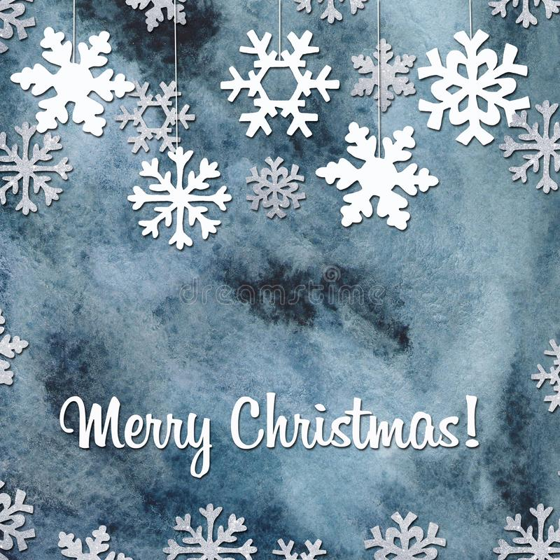 Winter greeting card with snowflakes, tree. royalty free illustration