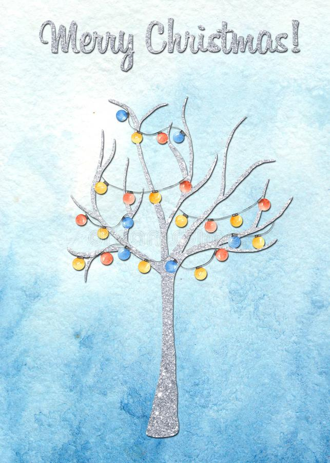 Winter greeting card with snowflakes, tree. vector illustration