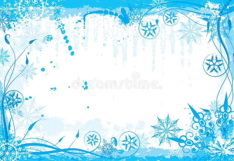 Winter grunge floral frame royalty free stock image