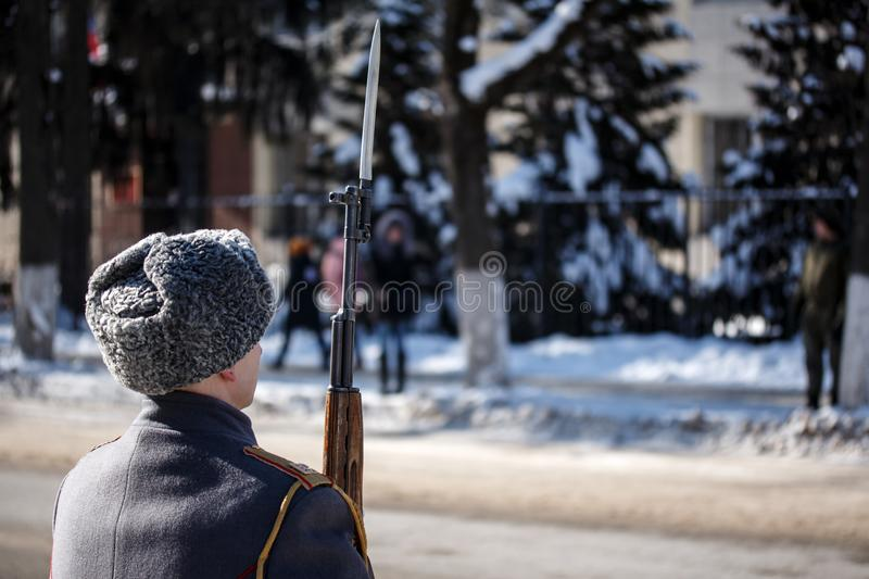 Guard of Honour. Soldier hold carbine with bayonet. Winter. Guard of Honour. Soldier hold carbine with bayonet stock image