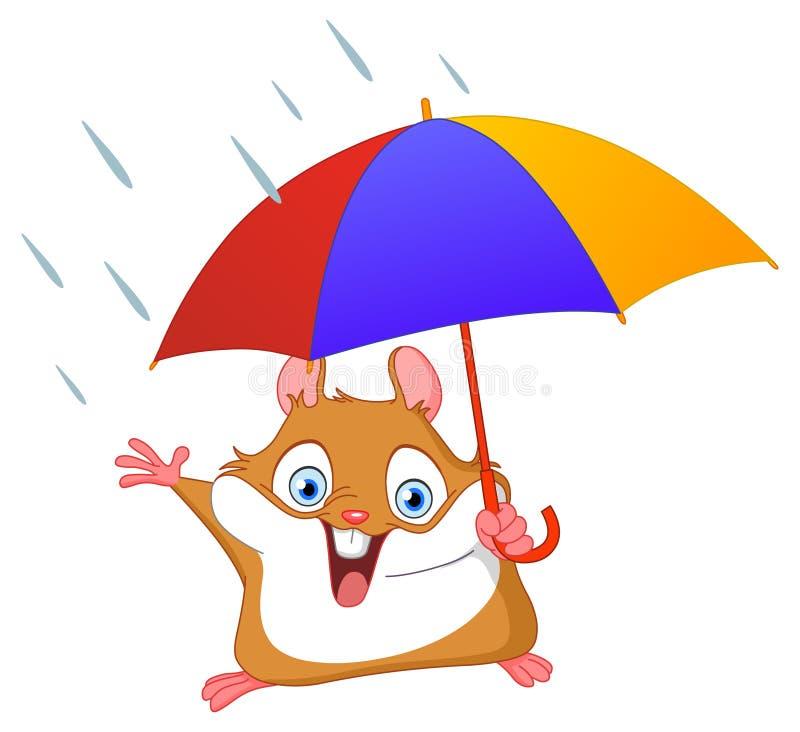 Winter hamster. Cheerful hamster holding umbrella in the rain royalty free illustration