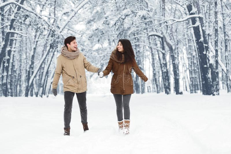 Happy Couple Walking Holding Hands Through Snowy Forest stock images