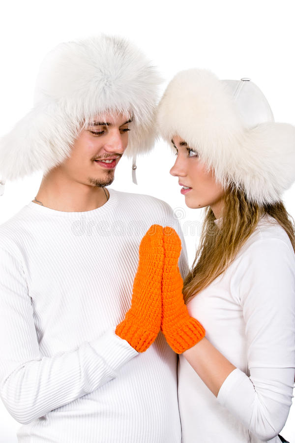 Winter Happy  Lovers Stock Image