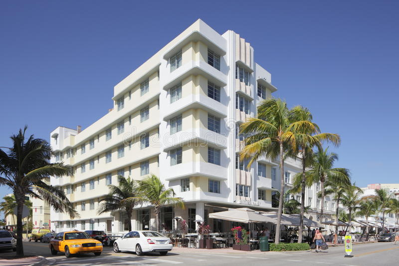 The Winter Haven Hotel. MIAMI - JANUARY 12: The Winter Haven located at 1400 Ocean Drive Designed by Albert Anis and first unveiled on Ocean Drive in 1939 stock photography
