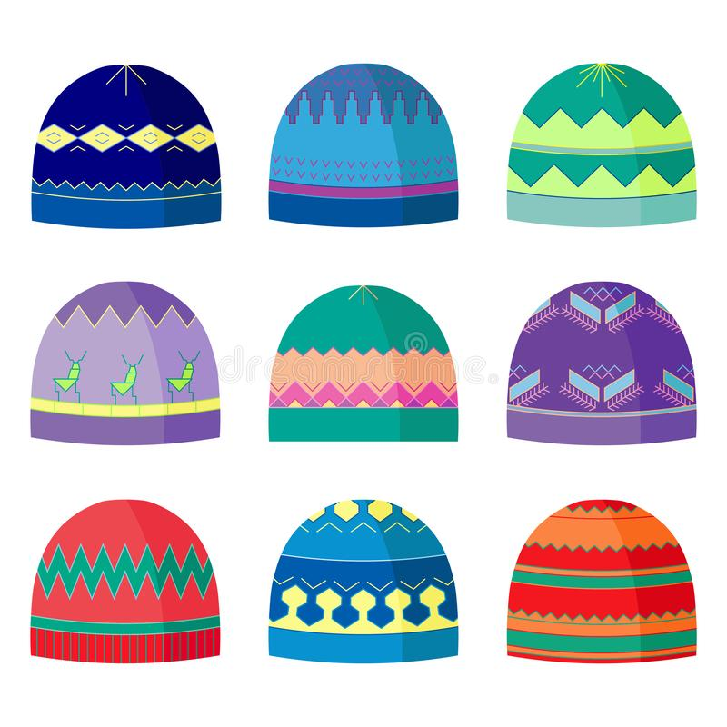 Winter headwear icons set. Flat style hats with geometrical pattern. Isolated design elements. Vector illustration stock illustration