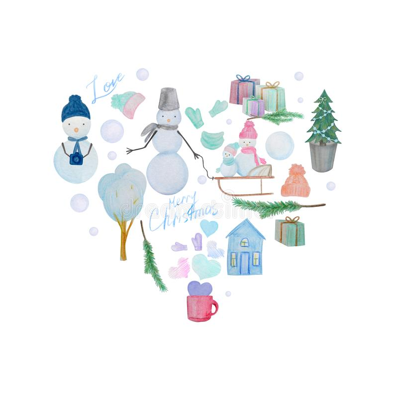 Winter heart composition of snowmen drawn with colored watercolor pencils vector illustration