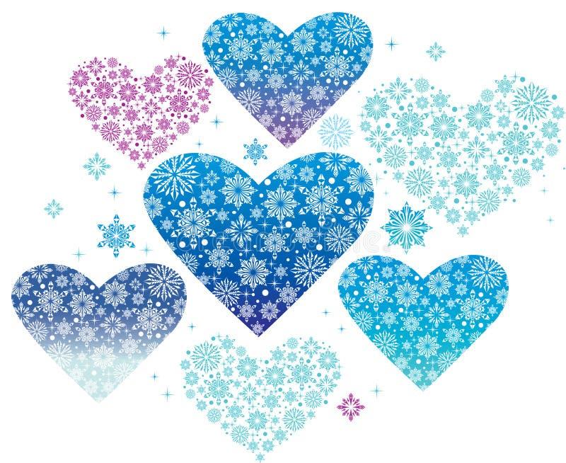 Winter hearts. Blue winter hearts Christmas decoration stock illustration