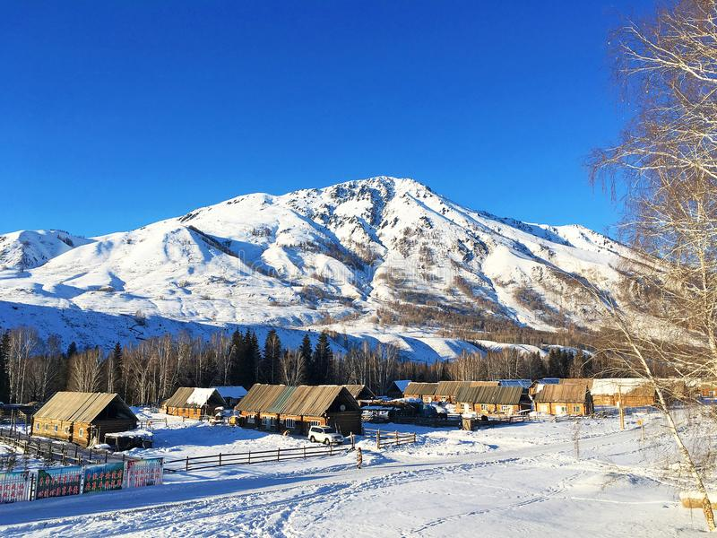 Winter Hemu village in Xinjiang, China. Heavy snow-covered wooden houses in Hemu village in winter. Located within the Kanas Lake scenic area in the north of royalty free stock images