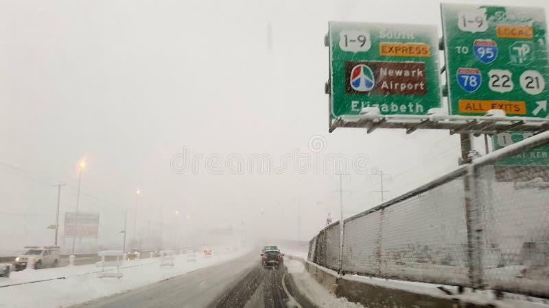 Winter highway to Newark Airport stock photos