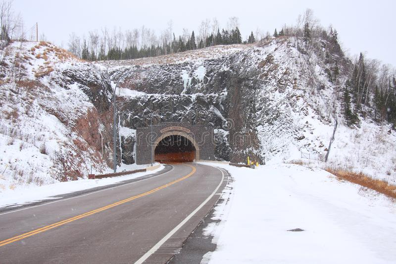Winter Highway Tunnel royalty free stock photos