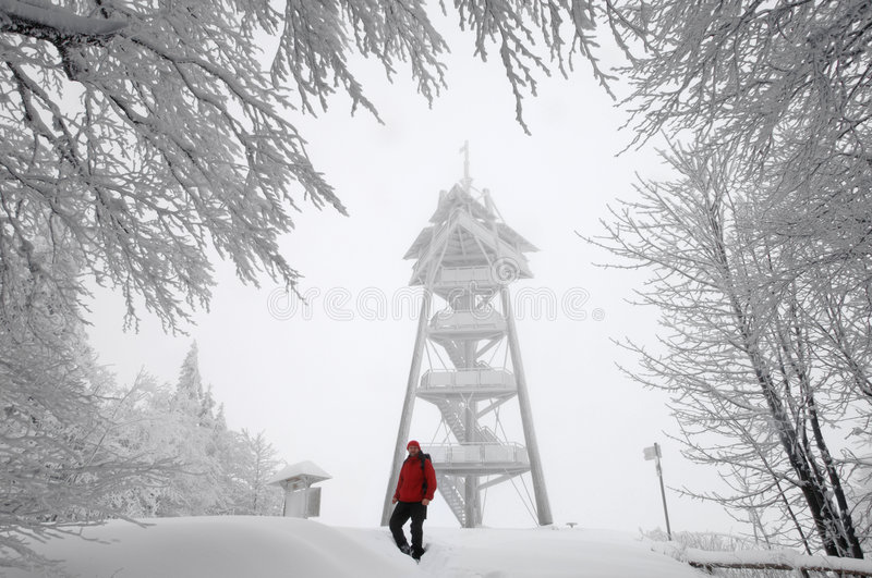 Winter hiker. Mt. Schauinsland, Black Forest, Germany stock photos
