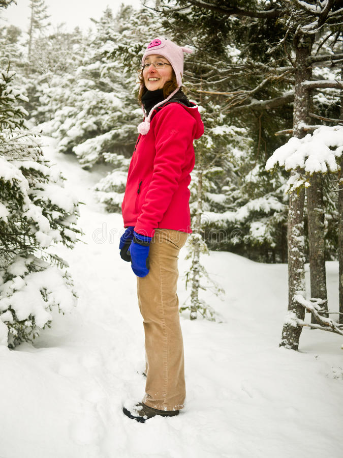 Winter Hiker - Woman On Snowy Hiking Trail Stock Images
