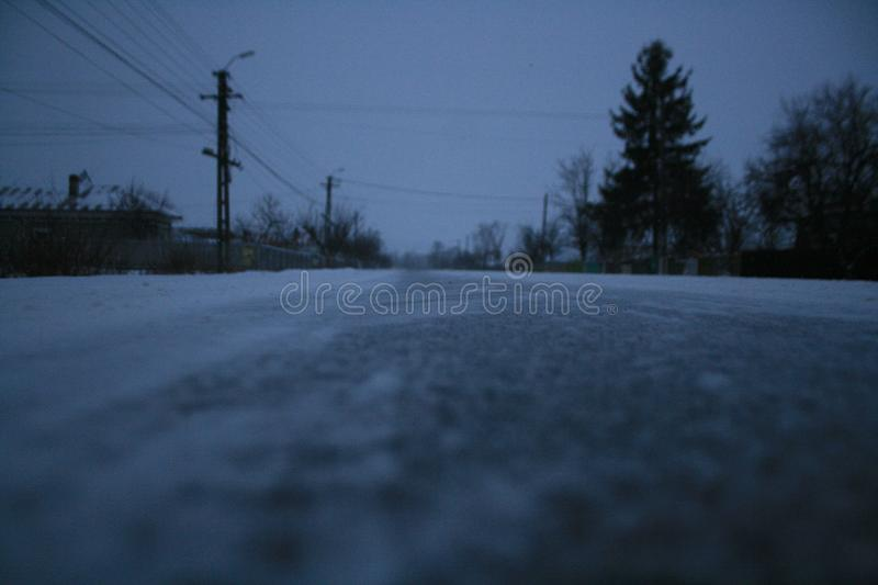 Road in a blizzard royalty free stock image