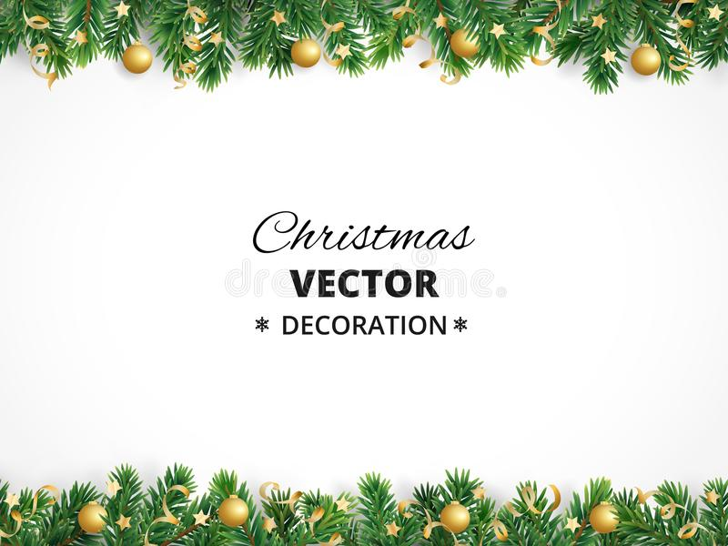 Winter holiday background. Border with Christmas tree branches. Garland, frame with hanging baubles, streamers vector illustration