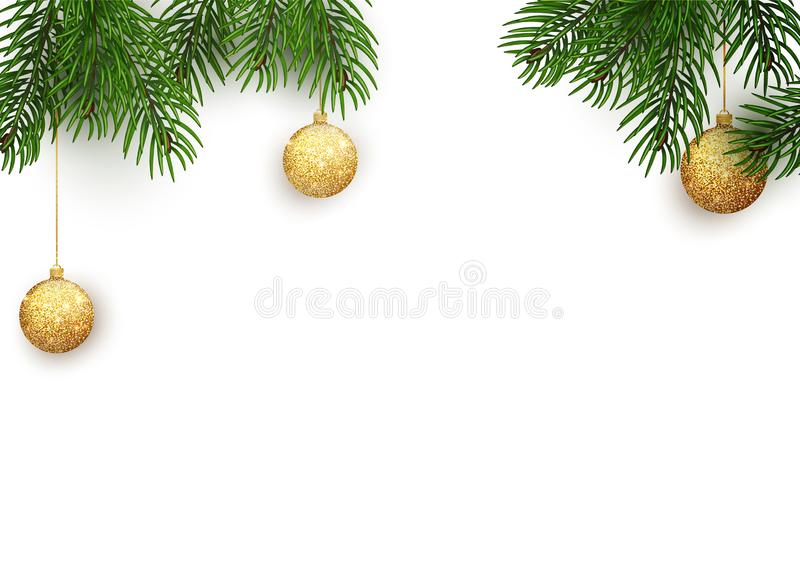 Winter holiday background. Border with Christmas tree branches and ornaments isolated on white. Vector illustration of stock illustration