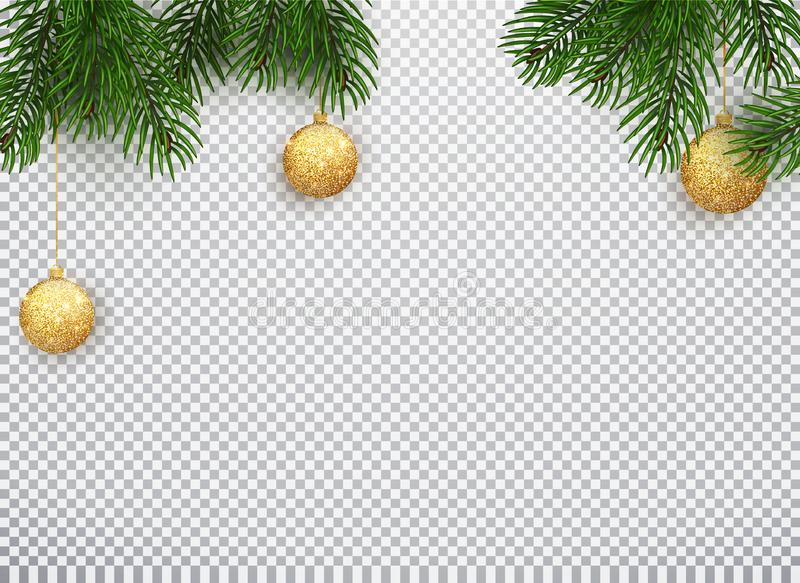 Winter holiday background. Border with Christmas tree branches and ornaments isolated on white. Vector illustration of royalty free illustration