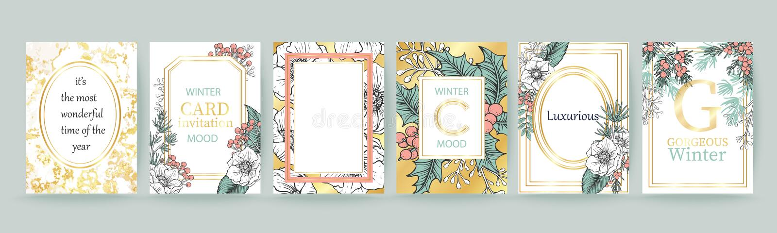 Winter holiday background, invitation. Wedding pattern design. Place for text. Merry Christmas and Happy New Year card. stock illustration