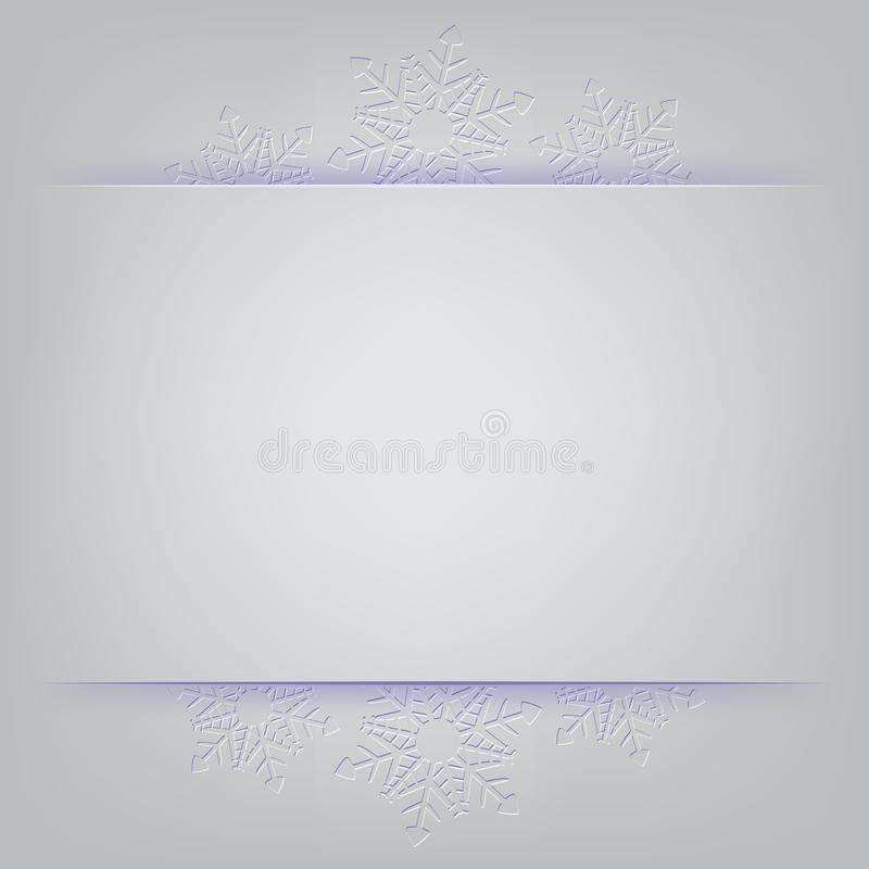 Winter holiday background. Vector frame with snowflakes on gray background. stock illustration