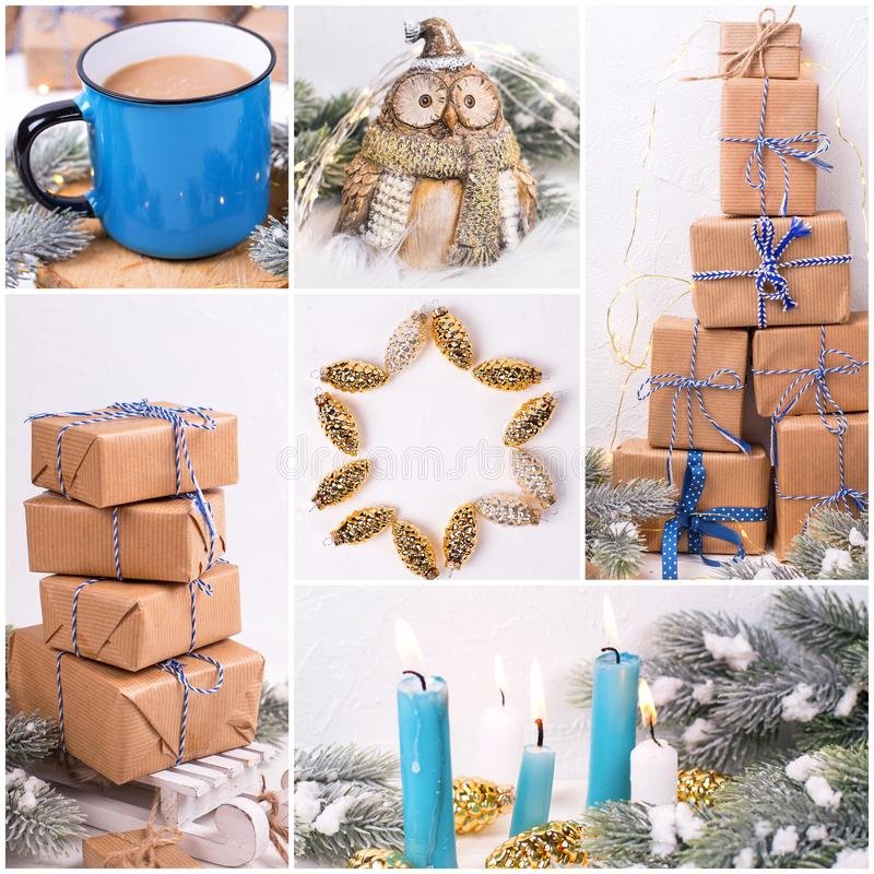 Winter holiday, Christmas, New Year  collage. Boxes with presents, blue burning candles, decorative  golden cones, bird owl, mug or cup with hot drink  on  white stock photos